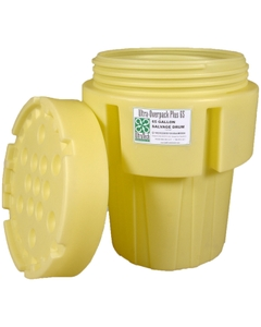 65 Gallon Yellow Plastic Salvage Drum, Screw On Lid, UN Rated