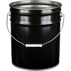 5 Gallon Black Open Head Steel Pail (29 Gauge) Unlined, Dish Cover Available