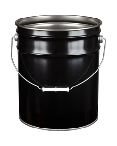 5 Gallon Black Steel Pail (29 Gauge) Unlined, Dish Cover Available
