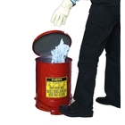 6 Gallon Red Oily Waste Can, Foot-Operated Self-Closing SoundGard™ Cover