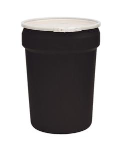 30 Gallon Black Plastic Drum, UN Rated, Cover w/Plastic Lever Lock