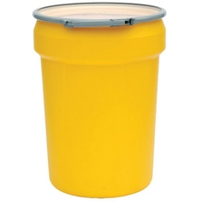 30 Gallon Yellow Plastic Drum, UN Rated, Cover w/Metal Lever Lock