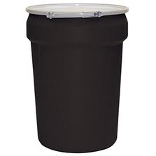 30 Gallon Black Plastic Drum, UN Rated, Cover w/Metal Lever Lock