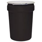 "30 Gallon Black Plastic Drum, UN Rated, Bung Lid w/Metal Lever Lock, 2"" & 3/4"" Fittings"