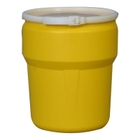 10 Gallon Yellow HDPE Drum, UN Rated, Cover w/Plastic Band Closure
