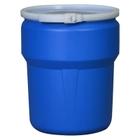 10 Gallon Blue Plastic Drum, UN Rated, Cover w/Metal Bolt Ring Closure