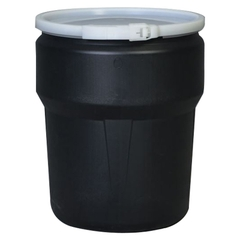 10 Gallon Black HDPE Drum, UN Rated, Cover w/Plastic Band Closure