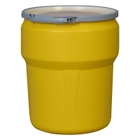 10 Gallon Yellow Plastic Drum, UN-Rated, Cover w/Metal Lever Lock