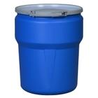 10 Gallon Blue Plastic Drum, UN-Rated, Cover w/Metal Lever Lock