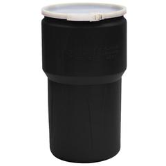 14 Gallon Black Plastic Drum, UN Rated, Cover w/Plastic Lever Lock Closure