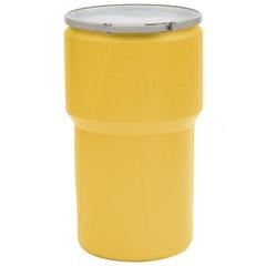 14 Gallon Yellow Plastic Drum, UN Rated, Cover w/Metal Lever Lock Closure