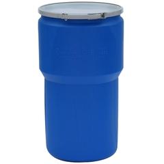 14 Gallon Blue Plastic Drum, UN Rated, Bung Lid w/Metal Lever Lock Closure, 2