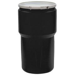 14 Gallon Black Plastic Drum, UN Rated, Cover w/Metal Lever Lock Closure, 2