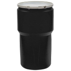 "14 Gallon Black Plastic Drum, UN Rated, Cover w/Metal Lever Lock Closure, 2"" & 3/4"" Fittings"