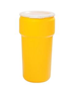 20 Gallon Yellow Plastic Drum, UN Rated, Cover w/Plastic Lever Lock