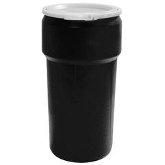 20 Gallon Black Plastic Drum, UN Rated, Cover w/Plastic Lever Lock