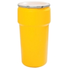 20 Gallon Yellow Plastic Drum, UN Rated, Cover w/Metal Lever Lock