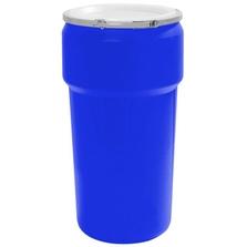 20 Gallon Blue Plastic Drum, UN Rated, Cover w/Metal Lever Lock