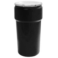 20 Gallon Black Plastic Drum, UN Rated, Cover w/Metal Lever Lock