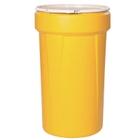 55 Gallon Yellow Plastic Drum, UN Rated, Cover w/Plastic Lever Lock