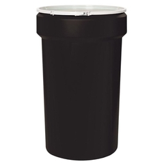 55 Gallon Black Plastic Drum, UN Rated, Cover w/Plastic Lever Lock