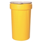 55 Gallon Yellow Plastic Drum, UN Rated, Cover w/Metal Lever Lock