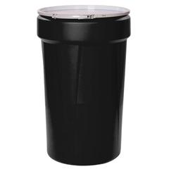 55 Gallon Black Plastic Drum, UN Rated, Cover w/Metal Lever Lock