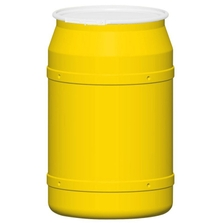 55 Gallon Yellow Plastic Drum, Straight Sided, UN Rated, Cover w/Plastic Lever Lock