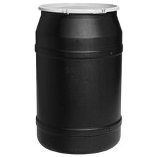 55 Gallon Black Plastic Drum, Straight Sided, UN Rated, Cover w/Plastic Lever Lock
