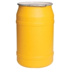 """55 Gallon Yellow Plastic Salvage Drum, Straight Sided, UN Rated, Bung Lid w/Metal Lever Lock, 2 2"""" Fittings"""