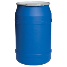 """55 Gallon Blue Plastic Drum, Straight Sided, UN Rated, Bung Lid w/Metal Lever Lock, 2 2"""" Fittings"""