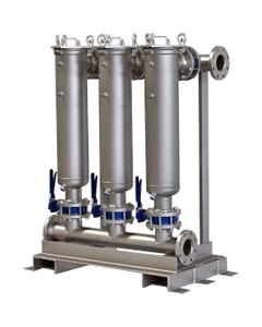 "Multi-Plex (3) Filter Vessel, 304 Stainless Steel, 3"" Flange, Size #2 (30"" Basket Depth)"