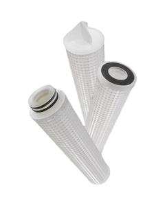 "1 Micron Pleated Polypropylene Liquid Filter Cartridge (2-1/2"" x 10""), 226/Flat End Cap"