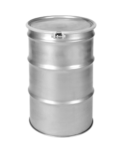 55 Gallon Open Head Stainless Steel Drum with Cover and Bolt Ring