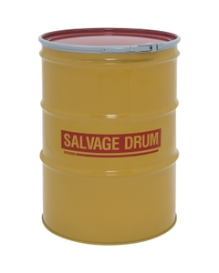 85 Gallon Steel Salvage Drum, UN-Rated, Lined, 19GA, Cover w/Lever Lock Ring