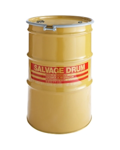 """85 Gallon Steel Salvage Drum, UN-Rated, Lined, 18GA, Cover w/Bolt Ring, 2"""" & 3/4"""" Fittings"""