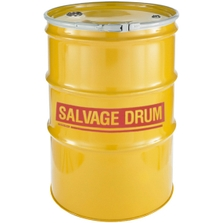 85 Gallon Steel Salvage Drum, UN-Rated, Unlined, 18GA Cover w/Lever Lock, 2 & 3/4 Fittings