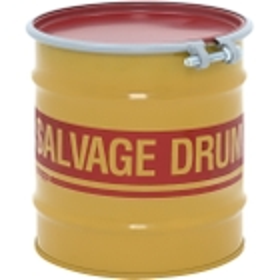8 Gallon Steel Salvage Drum, Cover w/Bolt Ring Closure