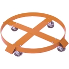 55 Gallon Steel Drum Dolly, Rubber Casters Swivel & Rigid (900 lb. Capacity)