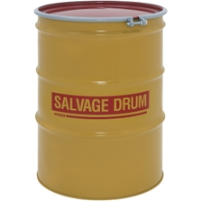 85 Gallon Steel Salvage Drum, UN-Rated, Unlined, 19GA, Cover w/Bolt Ring