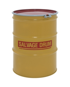 85 Gallon Steel Salvage Drum, UN-Rated, Lined, 16GA, Cover w/Bolt Ring