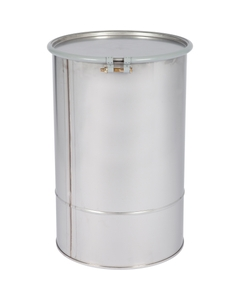 20 Gallon Stainless Steel Drum, UN Rated, Cover w/Bolt Ring Closure