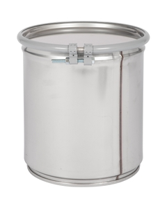5 Gallon Stainless Steel Drum, UN Rated, Cover w/Bolt Ring Closure
