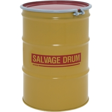 55 Gallon Steel Salvage Drum, Cover w/Bolt Ring Closure (18/20 Gauge)