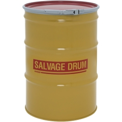 55 Gallon Steel Salvage Drum, Cover w/Lever Lock Ring Closure (16/16 Gauge)