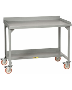 """48"""" x 28"""" Steel Mobile Workbench w/ Back & End Stops and Lower Shelf"""