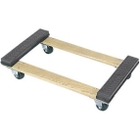 """30"""" x 18"""" Wood Dolly, Open Deck Rubber End, 3"""" Casters, 900 lb. Capacity"""