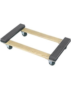 """30"""" x 18"""" Wood Dolly, Open Deck Rubber End, 4"""" Casters, 1,200 lb. Capacity"""