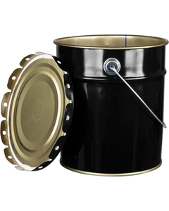 2 Gallon Black Steel Pail & Cover, Unlined