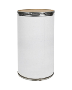 17.5 Gallon White Fiber Drum with Fiber Cover and Lever Lock Ring